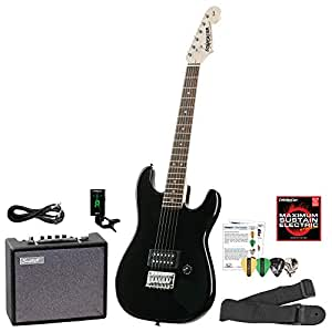 starcaster by fender strat electric guitar starter pack onyx black with lesson amplifier. Black Bedroom Furniture Sets. Home Design Ideas