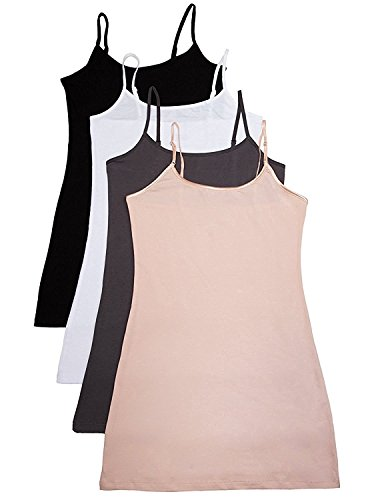 (4 Pack: Active Basic Cami Tanks (Large, White/Black/D.Khk/Charcoal))