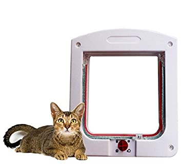 Puerta de plástico para mascotas Puerta de perros de aleta de gato Perro de perros Puerta Puerta de gato para mascotas Blanco: Amazon.es: Jardín