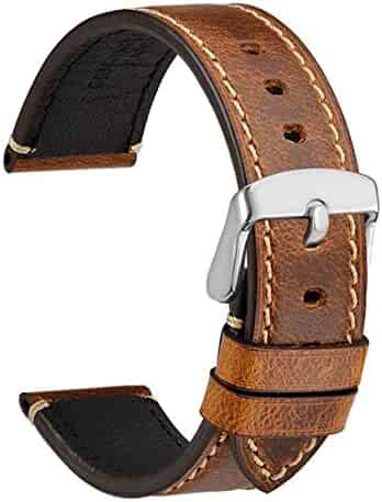 9f7619d6c WOCCI 18mm Watch Bands,Premium Saddle Style Vintage Leather Watch Strap  with Sliver Buckle (