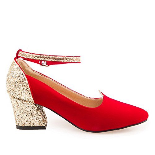 Odomolor Women's Blend Materials Kitten Heels Pointed Closed Toe Buckle Pumps-Shoes Red LIwUA6yTB