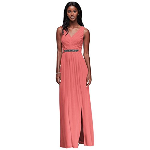 - Long Mesh Bridesmaid Dress with V-Neck and Beaded Waistband Style W11092, Coral Reef, 14