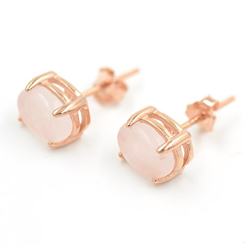 Rose Quartz Stud Earrings in Sterling Silver and 14K Rose Gold Plated