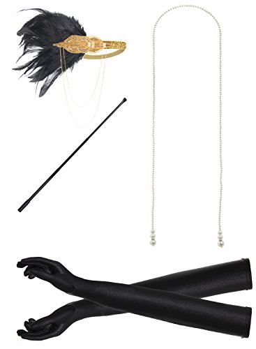 JustinCostume 1920s Accessories Headband Necklace Gloves Cigarette Holder (T) -
