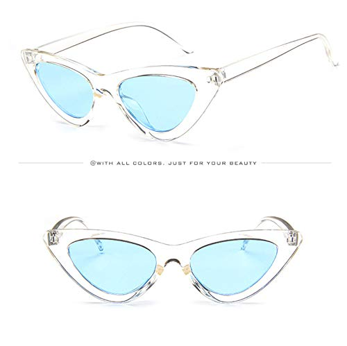 Frame Transparent Eye Sunglasses UV Small Wild Fashion Protection for Shopping Holiday Sun Sunglasses Lens Outdoor Frame Stylish Decorative Triangle Goggles Cat Eyeglasses blue Glasses Travel YqqE1