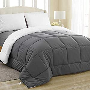 Equinox All-Season White Quilted Comforter - Goose Down Alternative Queen Comforter - Duvet Insert Set - Machine Washable - Hypoallergenic - Plush Microfiber Fill (350 GSM) by Equinox International