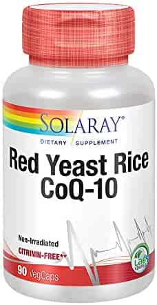 Solaray Red Yeast Rice Plus CoQ-10 | with Niacin for Added Cardiovascular Health Support | Non-Irradiated and with Out Citrinin | 90 Vegetarian Capsules