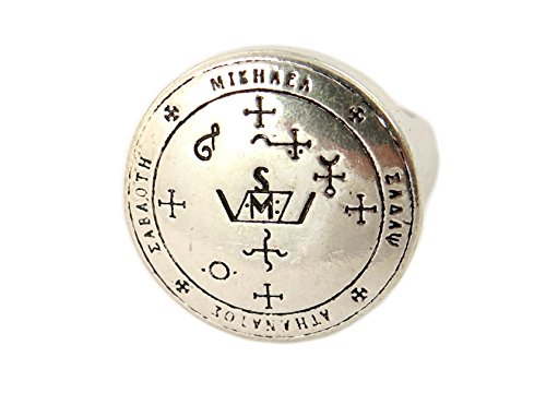 Archangel Michael Sigil Ring, Silver Plated, Adjustable