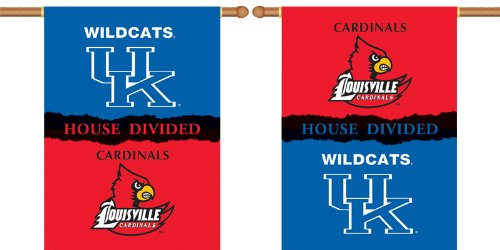 (NCAA Kentucky - Louisville 2-Sided House Divided Rivalry Banner Flag 28 x 40in)