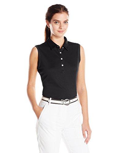 Cutter & Buck Women's Moisture Wicking, UPF 50+, Sleeveless Clare Polo Shirt, Black, M
