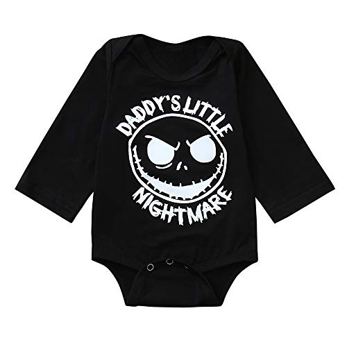 (Baby Bodysuits for Twin Boys Girls Twin Clothes Unisex Long Sleeve Halloween Mommy's Daddy's Little Nightmare Tops (Black #2,)