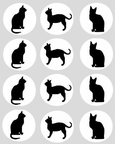 12 x Black Cat 40mm Rice Paper Cupcake Toppers cake (Black Cat Halloween Cakes)