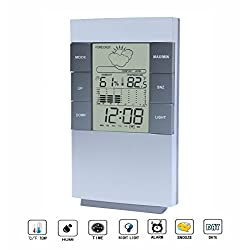 Digital Hygrometer Thermometer,Digital Alarm Clock with Temperature Humidity Weather Station Forecast Gauge Clock Back Light and Snooze Function (Silver & Gray)