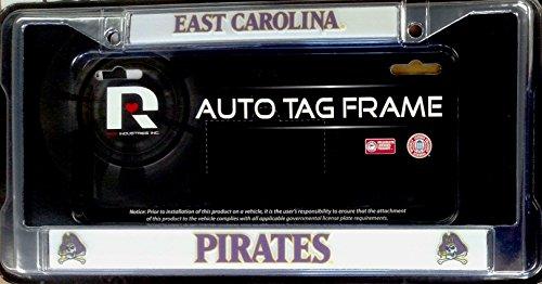 FanNut.com East Carolina Pirates Chrome Metal License Plate Tag Frame Cover University of