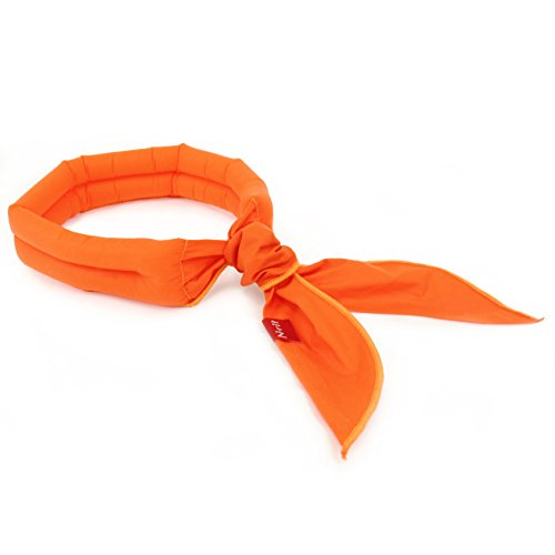 Eutuxia New 2019 Cooling Scarf. Wrap a Soaked Tie Around Neck or Head to Instantly Chill Out. Crystal Polymer Technology Keeps Cool & Reusable. Great for Summer, Outdoor Activities & Sports. [Orange]