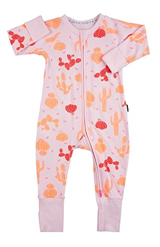 Baby Wondersuit 2 Way Zip Sleep and Play Fold Over Cuffs (6-12 Months, Pink Cactus) (Bonds Baby Bodysuits)
