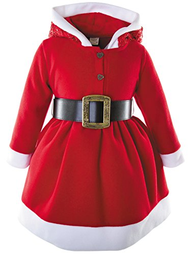Christmas Dress Up Ideas (Lilax Little Girls' Holiday Christmas Santa Sparkle Hood Red Dress with Belt 2T)