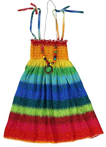 Children Girls Rainbow Spaghetti Strap Beach Sundress Hawaiian Sun Dress, Rainbow 1#, 6-7 Years = Tag 140