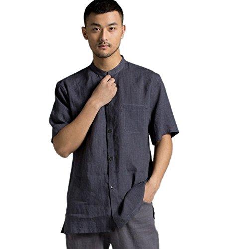 ZanYing Retro Men Stand Collar Shirt Summer Linen Tops (M, Grey) by ZanYing