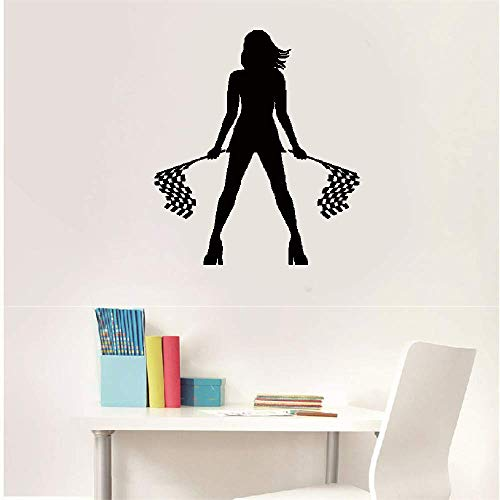 Decorative Wall Stickers Removable Vinyl Decal Art Mural Home Decor Girl with Start Flags Garage Racer Room Auto Racing