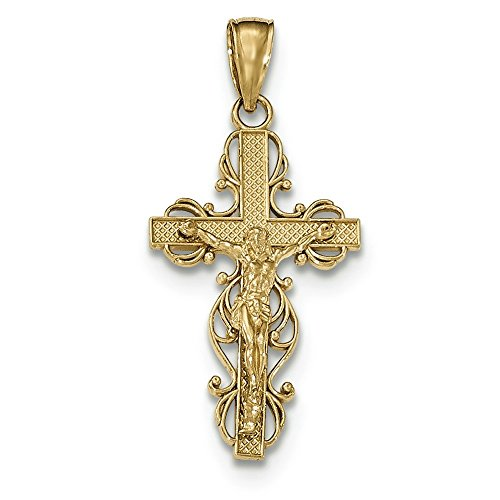 Or 14carats Pendentif Crucifix poli avec bordure en dentelle