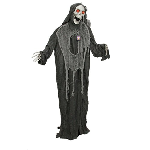 Halloween Haunters Animated Standing Life Size Scary Speaking Skeleton Black Reaper That Shakes, Moving Arms and Light-Up LED Eyes Prop Decoration - Speaks Phrases, Ghoulish Laughs - Battery Operated -