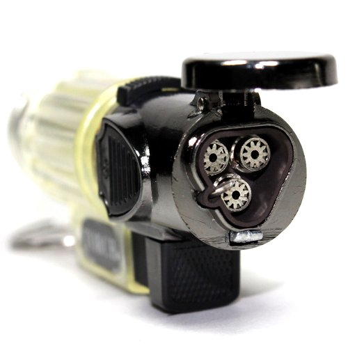 Clear Torch (Clear Transparent Triple Jet Flames with Hands Free Flame Lock Refillable Butane Torch Lighter 3 Inch)