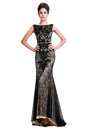 HarveyBridal Deep V-neck Back Beaded Mermaid Lace Evening Dress Black