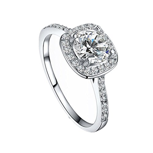 XILALU Shinning Zircon Big Square Finger Wedding Engagement Rings (US 6)