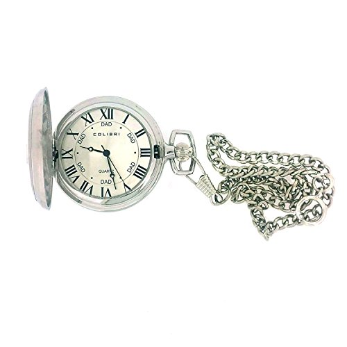 Colibri Pocket Watch Stainless Steel Number 1 Dad and Money Clip PWQ097200D (Colibri Set Pocket Watch)