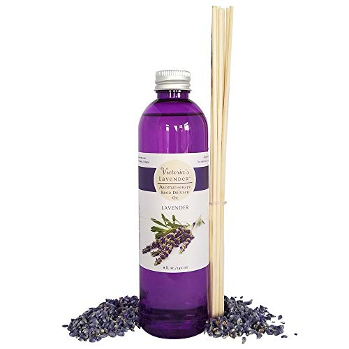 Victoria's Lavender Essential Oil Reed Diffuser Refill - Natural Organic Aromatherapy Oil for Reed Diffusers 8 oz -1 Year Supply- Reeds Included - Refills Diffuser Oil