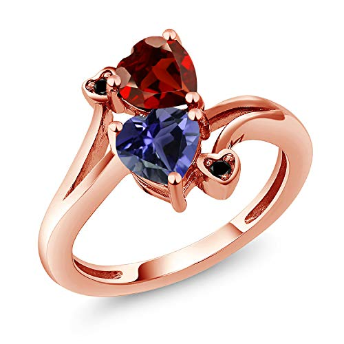 Gem Stone King 1.51 Ct Heart Shape Red Garnet Blue Iolite 18K Rose Gold Plated Silver Ring (Size 9) ()