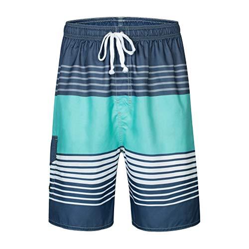 Clothin Men's Quick Dry Beach Boardshort Swim Trunks Swimming Shorts(Grey Green,US 36)