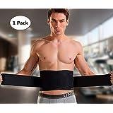 Waist Trimmer Lumbar Lower Back Brace Support AB Belt for Men Back Pain Relief Adjustable Dual Layered Black
