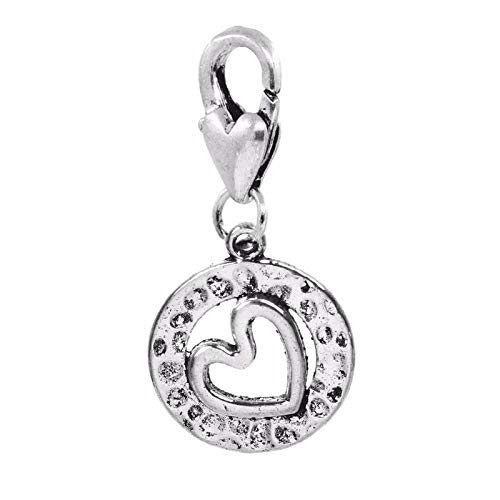 Sideways Heart Circle Hammered Metal Lobster Claw Clip Dangle Charm for Bracelet Jewelry Making Supply by Wholesale Charms ()