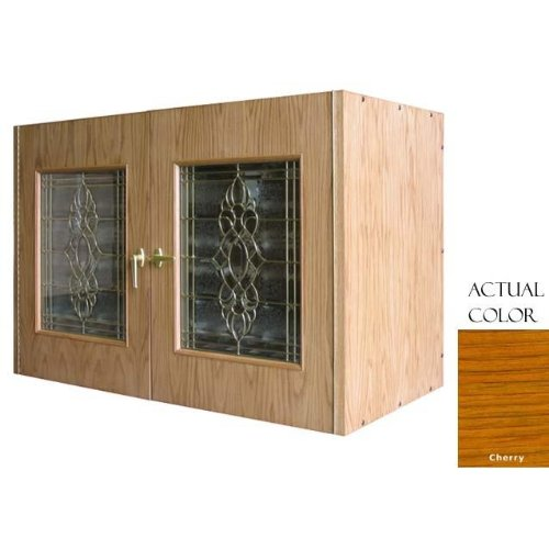296-Model White Oak Wine Credenza with 2 Beveled Glass Doors by Vinotemp