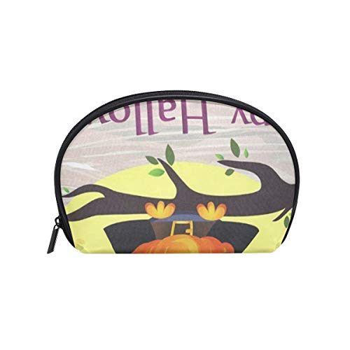 Cosmetic Bag Halloween Owl In Witch Costume With Pumpkin Customized Shell Makeup Bags Organizer Portable Pouch for Women/Girls]()