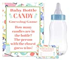 "Baby Shower Bottle Game Candy Guessing Game with 11"" Baby Bottle Bank and 30 Cards (Blue)"