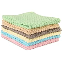 """CrystalTowels 6 Pack Washcloths Towels - 100% Premium Quality Absorbent Cotton - 12"""" x 12"""" - Dries Fast - Popcorn Design - (Light Brown, Grey, Beige, Blue, Pink, Green)"""