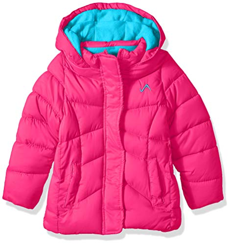Vertical '9 Girls' Little Quilted Bubble Jacket with Hood, Fuchsia, 5/6