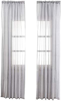 Vosarea Algodón y Lino Shiner Window Cortinas de Gasa Cortina de Textura Fina para la Sala de Estar del Dormitorio - 100X200cm (Gris): Amazon.es: Hogar