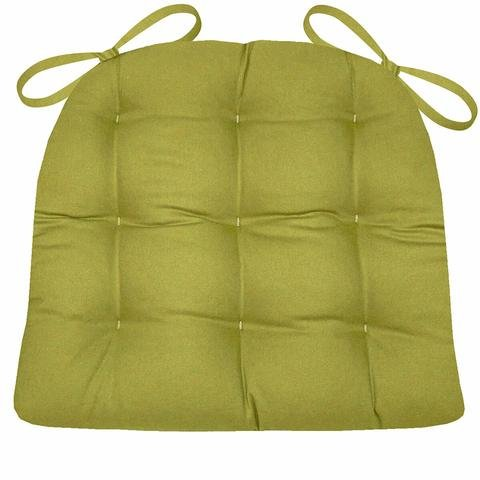 Dining Chair Pad with Ties - Pear Green Cotton Duck Solid Color - Size Standard - Reversible, Latex Foam Fill - Pear Chair