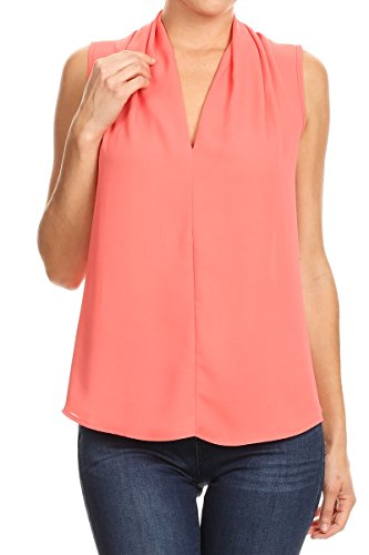 ReneeC. Women's Basic Solid V Neck Sleeveless Draped Chic Tank Blouse Top (Large, Coral)