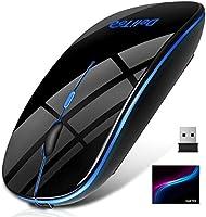 【進化版 Bluetooth5.0 & 7色LEDライト】 ワイヤレス マウス Bluetooth マウス 静音 薄型 2.4GHz USB充電 省エネ bluetooth 無線 マウス 高精度 3DPIモード 持ち運び便利...