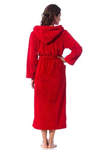 Morgenstern, Damen Bademantel lang, mit Kapuze aus Microfaser, Farbe rot
