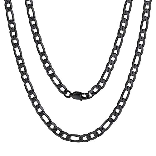 6mm Titanium Stainless Steel Link Necklace Classic Figaro Chain for Men Gift Chain Necklaces Black
