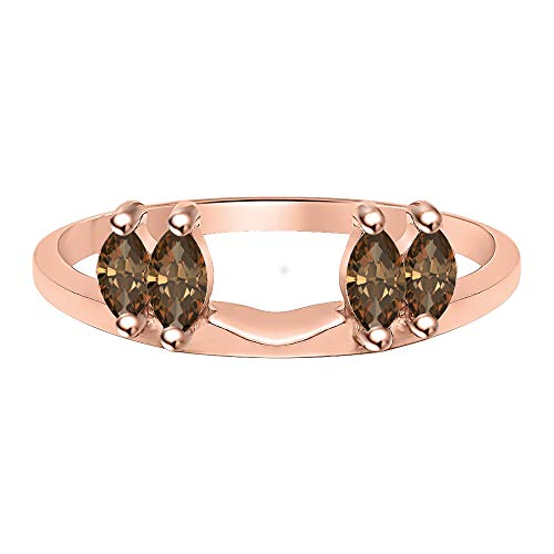 tusakha 0.50 Ctw Marquise Cut Created Smoky Quartz 14K Rose Gold Plated Ladies Guard Anniversary Wrap Jacket 925 Sterling Silver ()