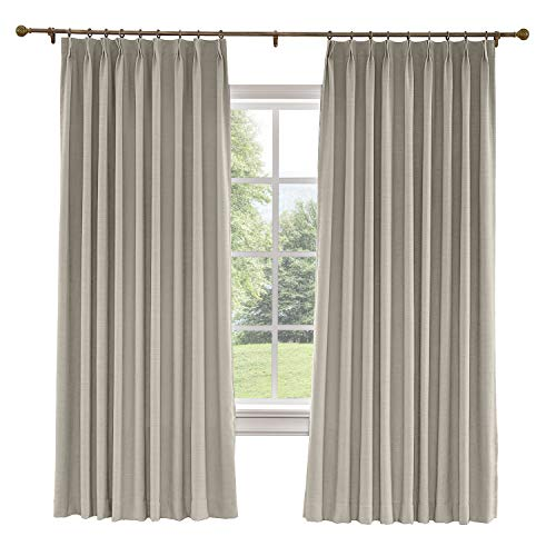 Prim Thermal Insulated Thick Solid Fabric Curtains Room Darkening Blackout Pinch Pleat Window Curtain for Living Room, Burly Wood, 84x84-inch, 1 Panel