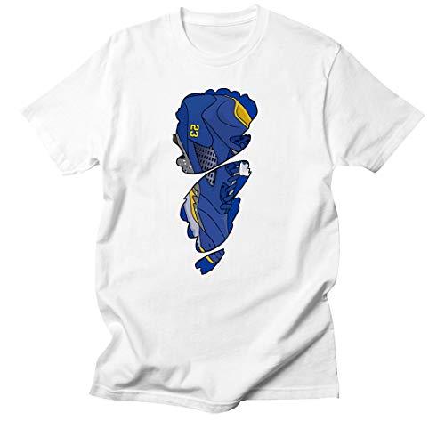 (Custom T Shirt Matching Style of Air J5 Laney JD 5 1-16-7 Tee-WHITE-2XL)