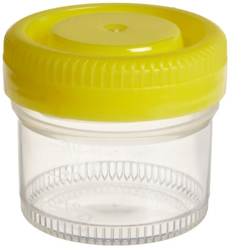 Samco Scientific 04 0506 Non-Sterile Specimen Container with 48mm Narrow Mouth Diameter, Yellow Bio-Tite Cap, 40mL Capacity (Case of ()